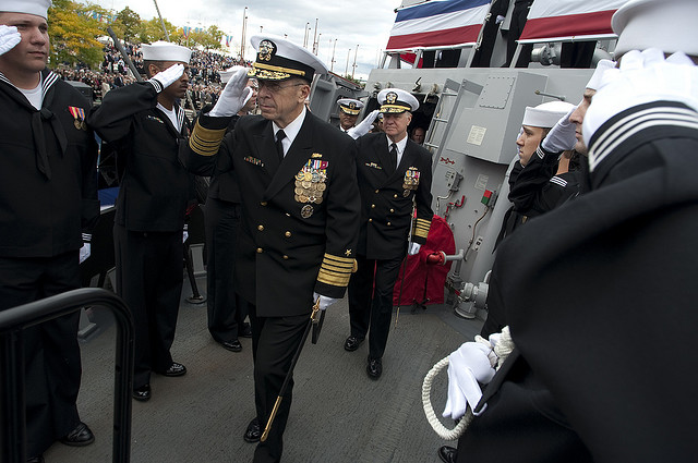 Medals on navy dress blues