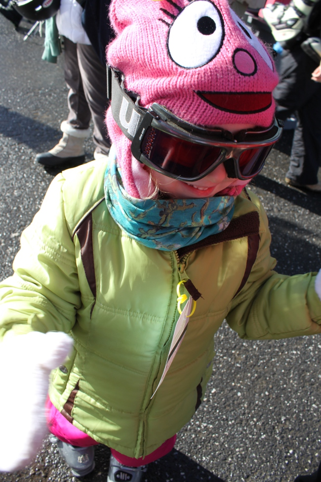 Goggles and a neck gaiter are a must when it is snowing, artificial or otherwise.