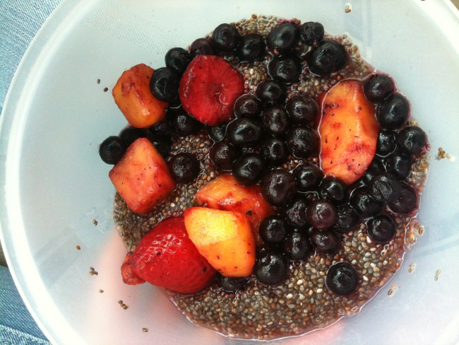 Chia seed pudding with frozen fruit.
