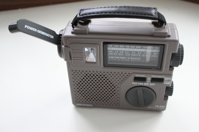 Emergency hand-crank powered radio.