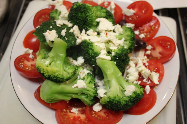 Broccoli, tomato, feta salad.