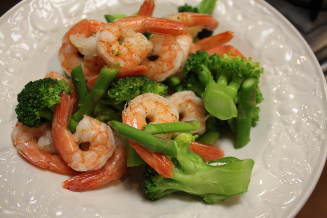 Shrimp, broccoli and asparagus (served with quinoa).