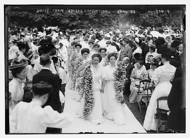 """""""Daisy Chain - Vassar Graduation, June 1908"""" Photo by Bain News Service.  From the Library of Congress Prints and Photographs Division."""