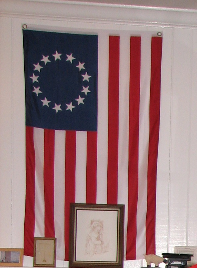 The Colonial flag was a find from Williamsburg.