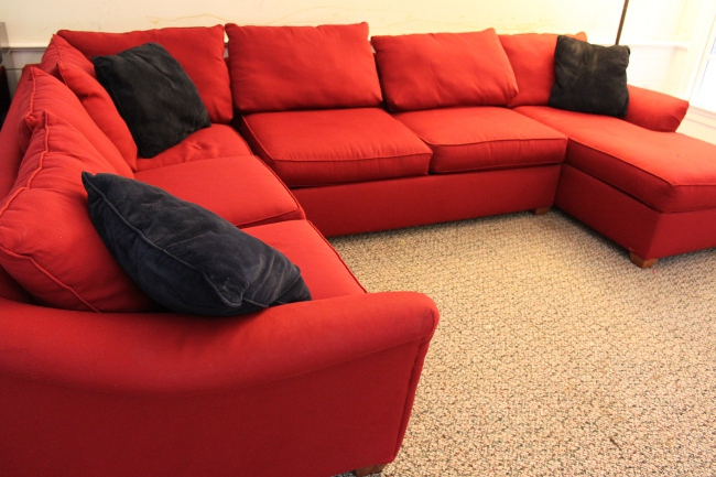 Our first family room couch -- a very comfortable but dreadfully hard to clean sectional.
