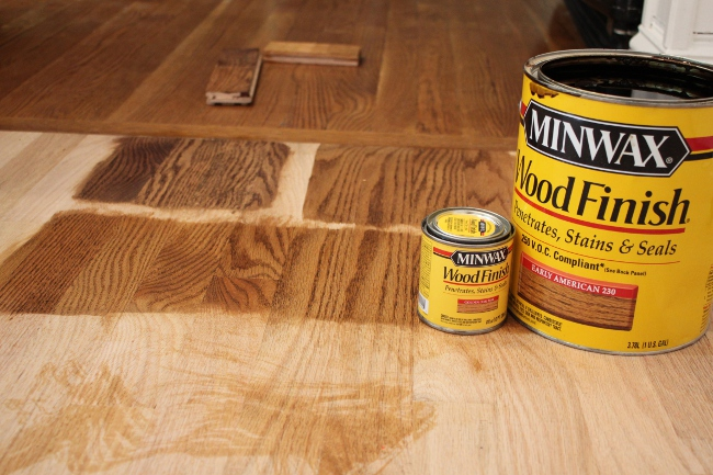 Our compromise stain: 1/4 Early American, 3/4 Golden Oak.