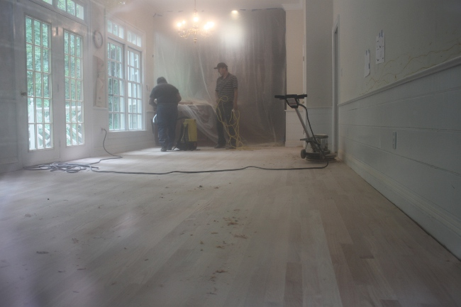 The sanding process produces a huge amount of fine dust.