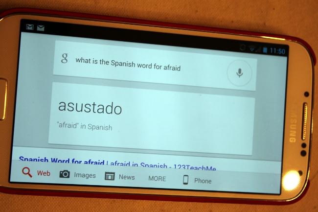 Using Google voice search and Google translate to assist with our Spanish.