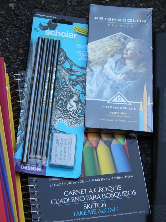 art pencils, sketchbook and Prismacolor pencils