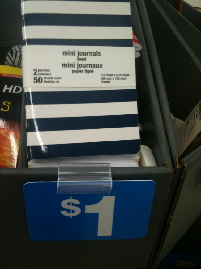 These cute striped mini-journals at Staples have yet to find a use but seemed a good size to write down short thoughts.