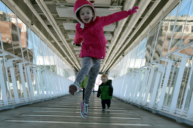 Catching some air in the skybridge.