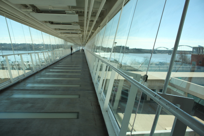 Inside the skybridge.