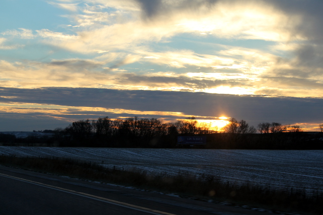 Iowa winter sunset.