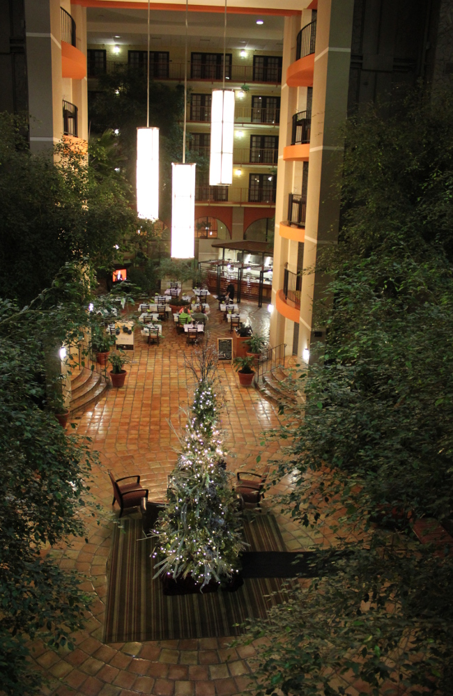 The hotel atrium with Christmas tree, a touch of home.
