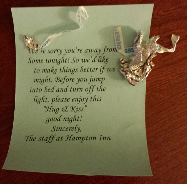 What was left of the hotel's valentine to us after my son found it.