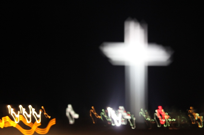 A great blurred shot of the enormous cross outside a church in Amarillo.  You can see the daytime shot in our previous road trip post, here. http://www.beruly.com/?p=2453