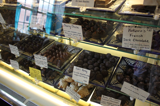 The enticing chocolate case at Kakawa Chocolate House.