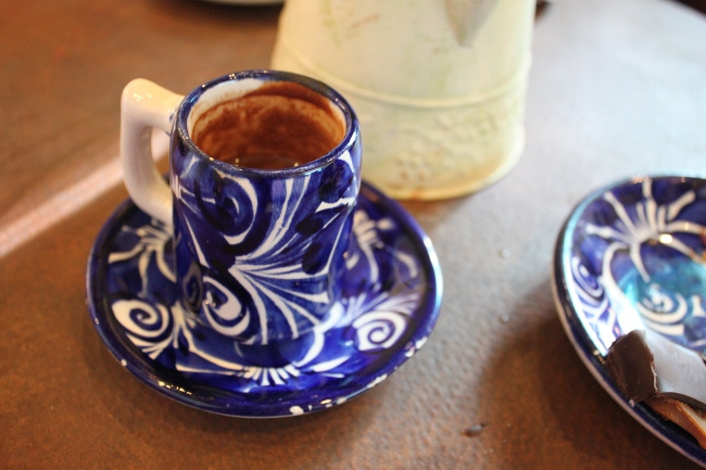 """A """"chocolate elixir"""" served in beautiful china."""