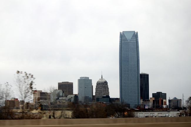 Quick view of downtown driving past Oklahoma City.