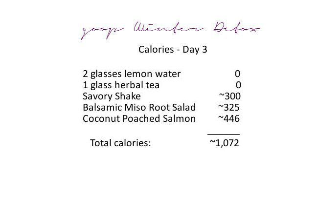 Calorie Count for the goop Winter Detox - Day 3