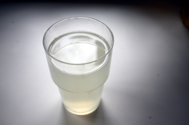A glass of room temperature lemon water starts each day of the detox.