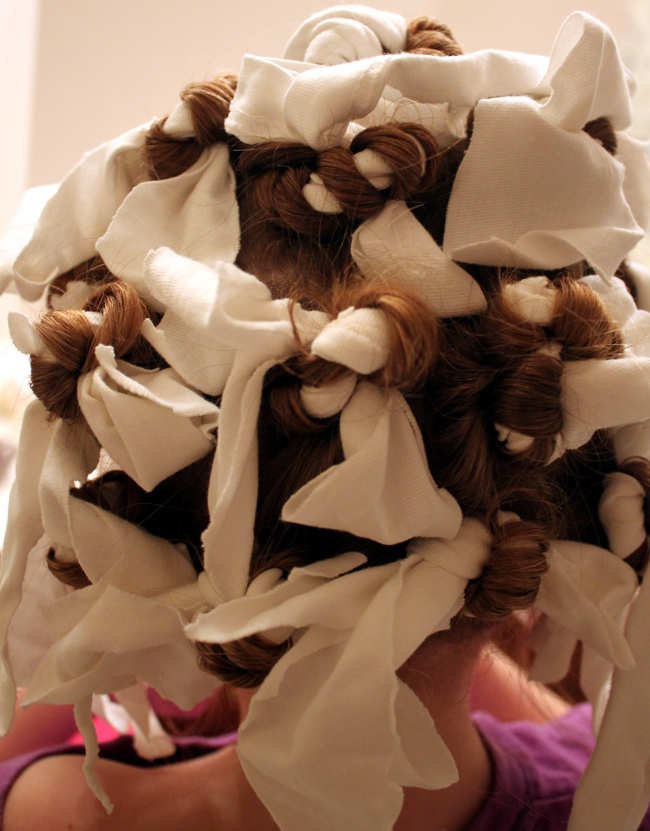 The finished rag curl set.  I needed a lot of curlers.  A bonus of this method is that the rag curlers were comfortable for sleeping.