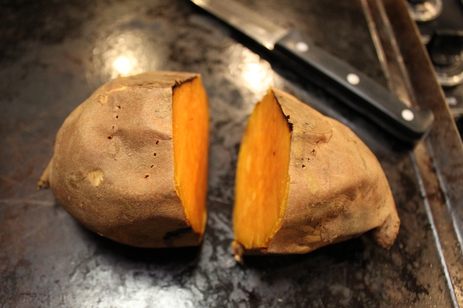 Saving time by packing away the other half of the sweet potato for tomorrow's shake.