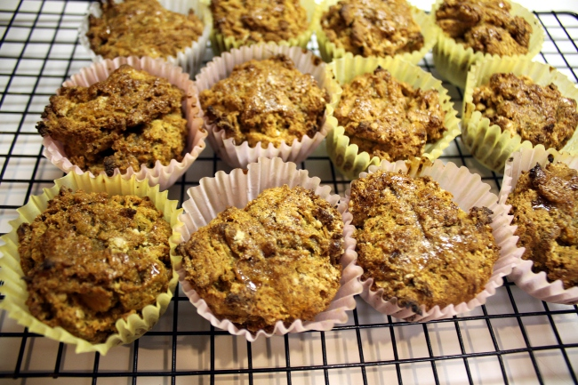 """My family was starting to complain that they needed some sweets.  I already had a plan in mind and made up some of the Sweet Potato and Chinese 5 Spice Muffins.  They use gluten-free flour and maple syrup as a sugar substitute.  I don't consider them acceptable for my Lenten diet but I thought they looked and smelled quite yummy.  My son ate them heartily.  My daughters said they were """"A little delicious"""" and """"Pretty OK"""" but weren't enthusiastic about them.  My husband said he prefers the texture of real flour."""