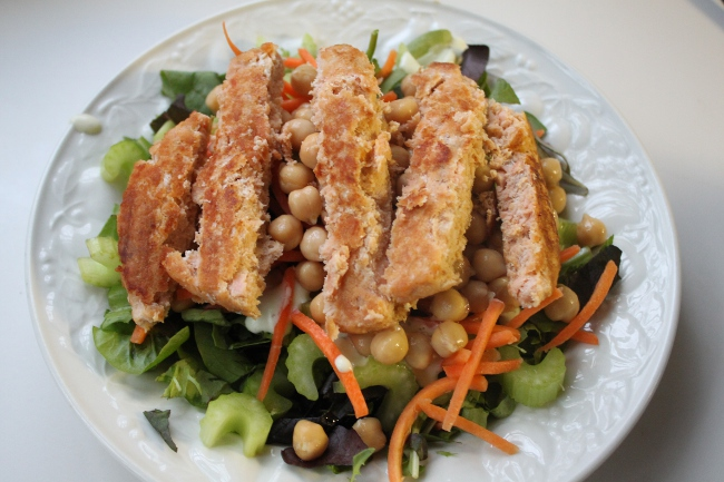 Tonight's fasting salad.  Salmon with chickpeas over greens with the last of my Green Goddess dressing.