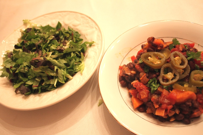 Dinner: Imperious chili and salad with the Apple Cider Vinaigrette.  The dressing was not one of my favorites.  It was a bit too bland.