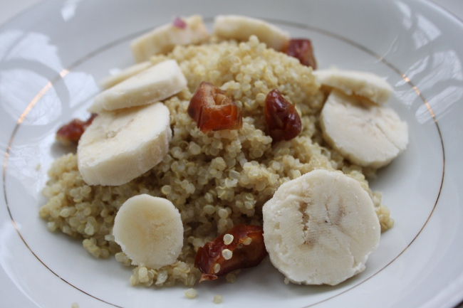 More sweet quinoa for a late afternoon snack.  We were running low on almond milk for this version.