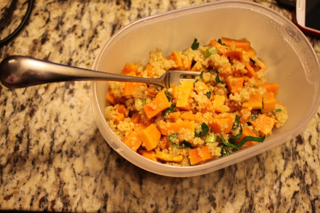 My dinner: butternut squash with quinoa.  This is a side dish but I just doubled the serving size for a main dish meal.  Add butternut squash to the list of sugar-tasting vegetables.  Delicious!