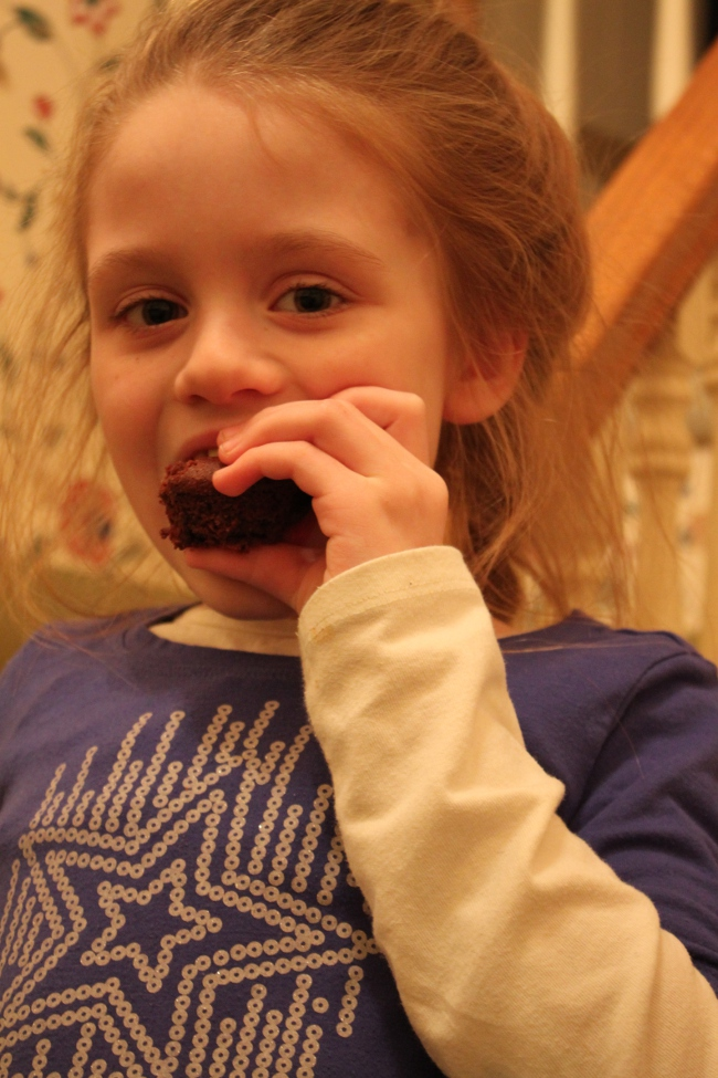My official cupcake taster.  She loved them!  Gwyneth makes a good brownie.  Everyone loved all of the brownie variants.