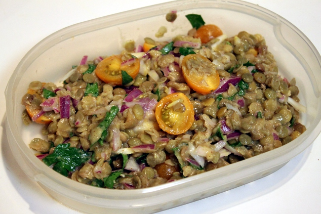 The lentil salad I packed.  In general this was very good and travels well (for a packed lunch or a picnic).  However, I need to learn how to cook lentils better.  Mine weren't quite soft enough.