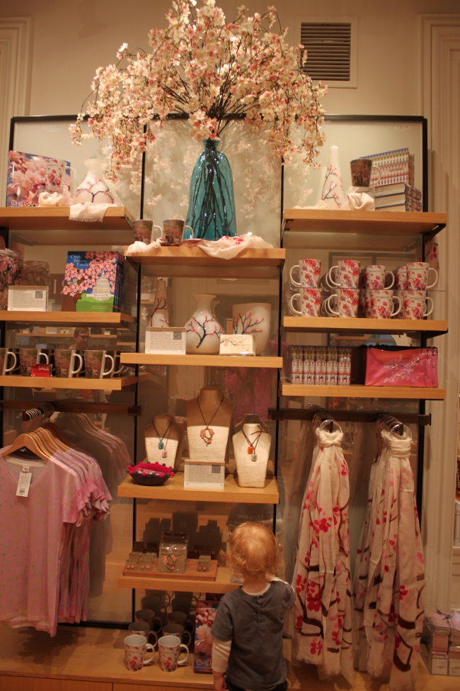 D.C. is gearing up for cherry blossom time.  Here: the lovely cherry blossom themed display in the gift shop.