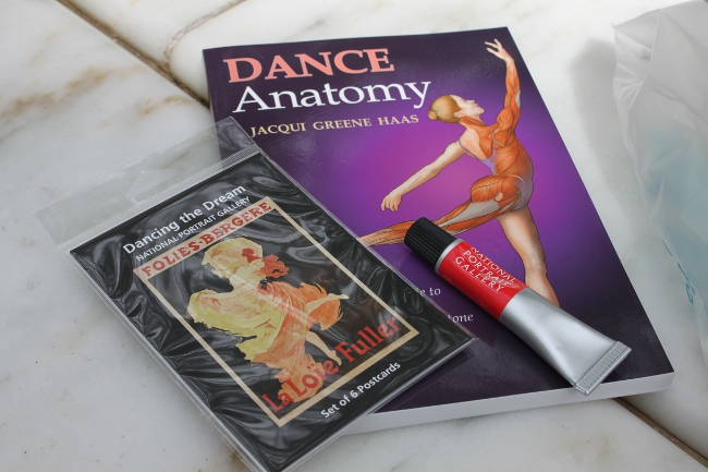 My finds from the gift shop: a terrific illustrated book on dance anatomy, a set of postcards from the exhibition and a neat pen that looks like a tube of paint.