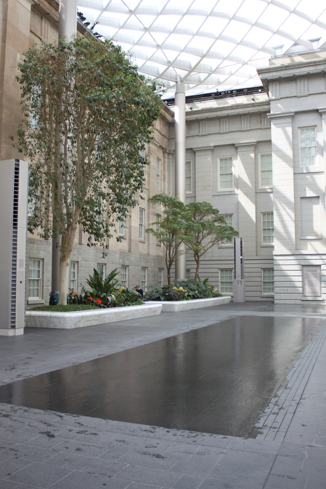 We went to the National Portrait Gallery to see a wonderful exhibit on dance photography.  We discovered their beautiful new atrium where you can eat your lunch and enjoy the water sidewalks.  My son loved them and got tremendously wet.
