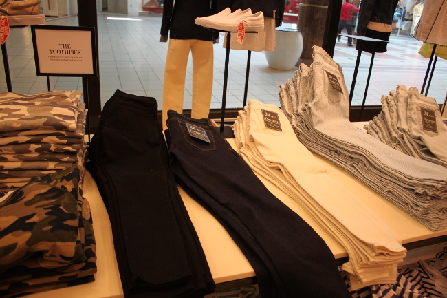 """Here: J. Crew's """"Toothpick"""" jeans described as """"our skinniest style."""""""