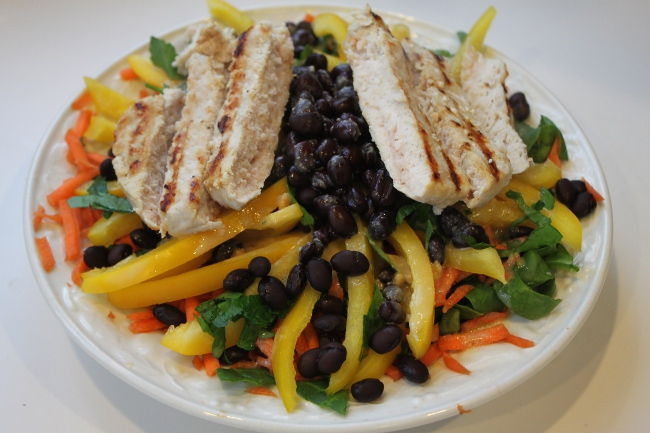 My fasting salad of spinach, bell pepper, carrot, parsley, black beans and turkey.