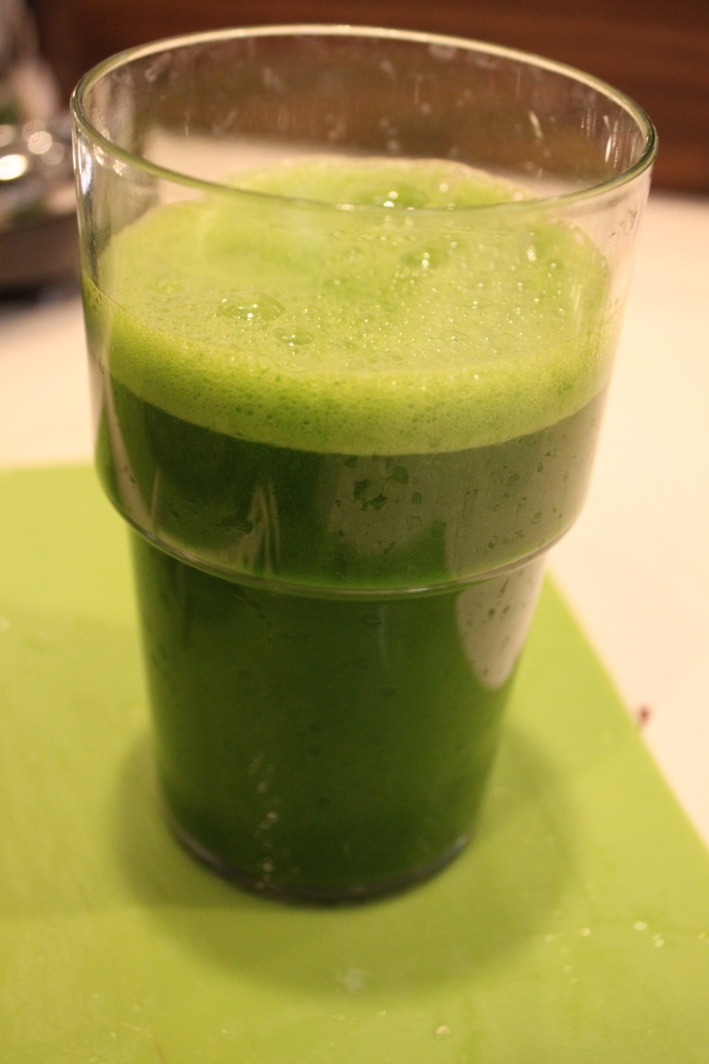 """Citrus Inspired Green Juice.""  I was really hesitant about this one.  It is full of kale and swiss chard.  But there is enough citrus that you really taste more of the sweetness than anything else.  This juice grew on me."