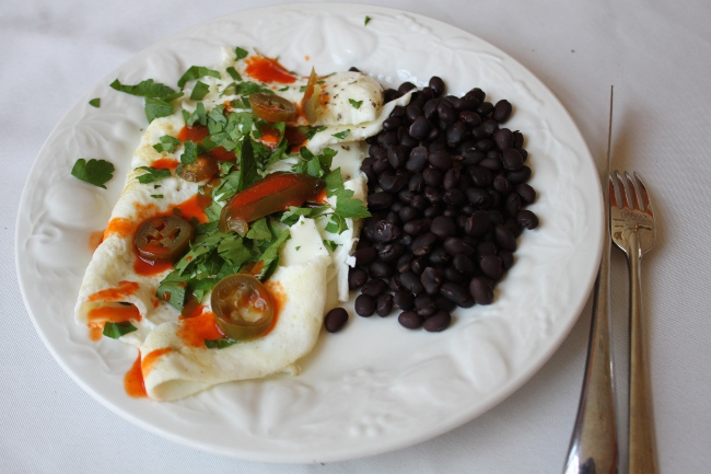 Breakfast: the huevos rancheros egg white omelet with black beans.