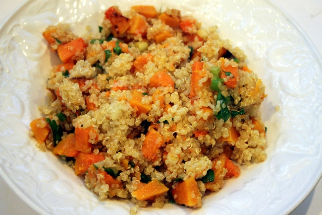 Dinner: leftover quinoa with butternut squash.