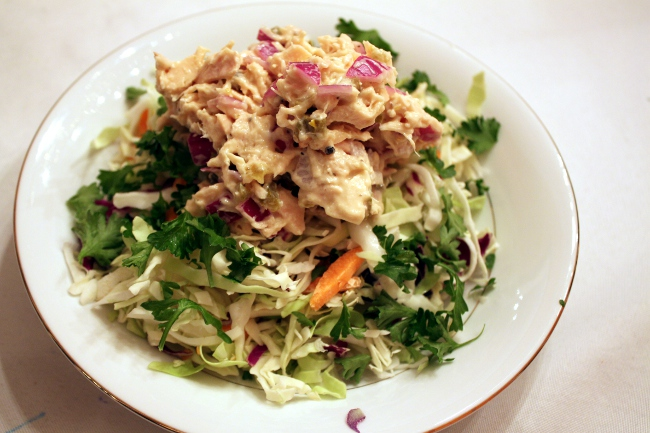 Healthy Tuna Salad on greens.