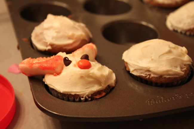 The bunny cupcakes in progress.