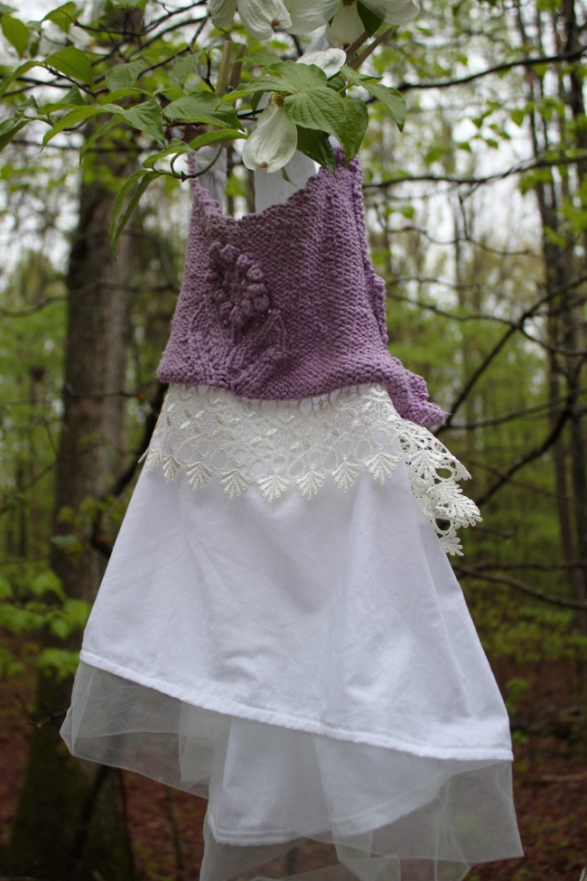 For the finished tunic, I created an apron-style tunic, added some lace accents and a tulle hem (inspired by the H&M catalog).  I loved how feminine it came out.