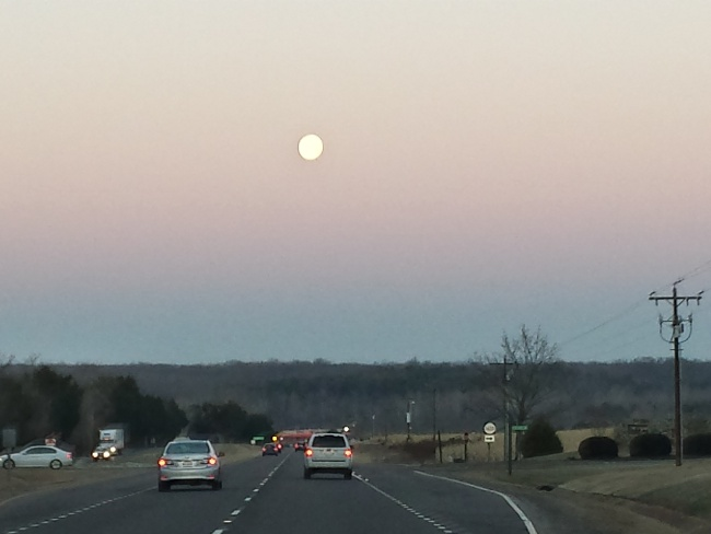 We had to leave very early in the morning for lessons.  In January, we often were driving in the dark while the moon was still out!