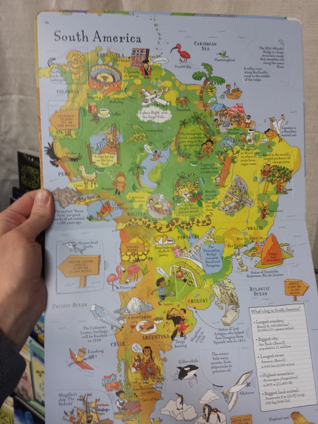 Another Usborne find, an interactive lift-the-flap atlas for children.
