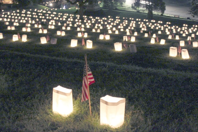 Fredericksburg has one of the most moving Memorial Day celebrations.  The luminaria at Marye's Heights is so touching--walking in darkness among the lights on so many graves--the majority unidentified remains.
