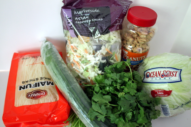 Ingredients for the lettuce wraps.
