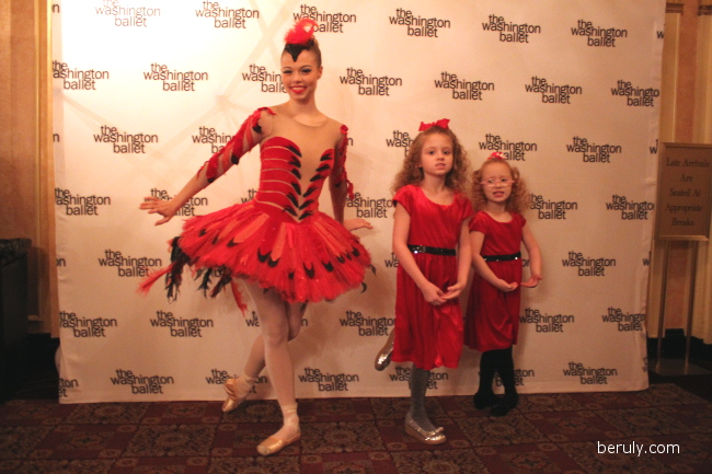 "My girls attempting some ballet moves with a ""cardinal"" dancer from the cat and the cardinal birds solo."